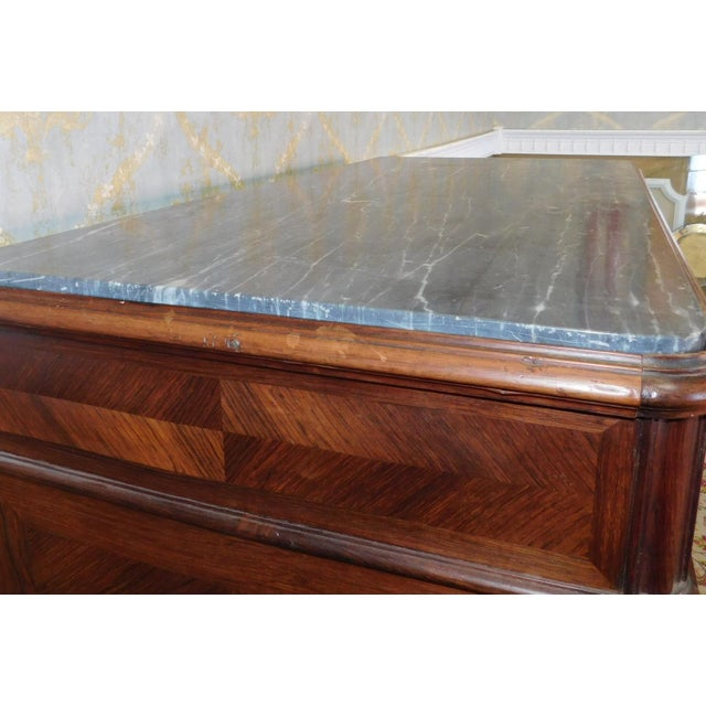 Brown Antique Carved French Directoire Style Black Marble Top Walnut 5 Drawer Chest c1890 For Sale - Image 8 of 11