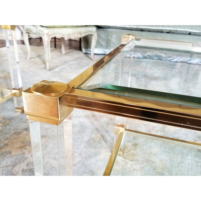 """1970s 1970's Signed """"Pierre Vandel"""" Lucite & Gilded Metal End Tables Pair For Sale - Image 5 of 7"""