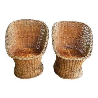 1970s Natural Wicker Woven Tub Chairs For Sale