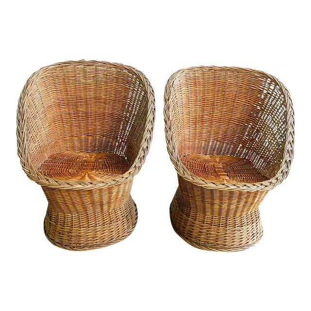 1970s Natural Wicker Woven Tub Chairs | Chairish