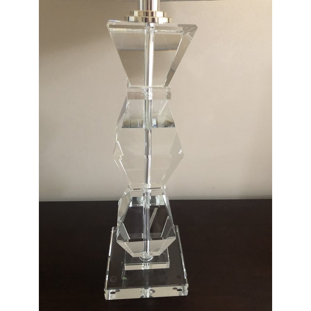 Transitional Ethan Allen Geometric Crystal Table Lamps With Shade For Sale - Image 3 of 4