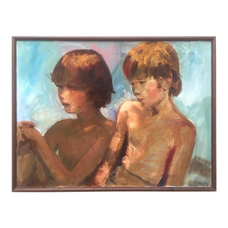 "Vintage Mid Century 1964 "" Brothers "" Framed Original G. Hovey Signed Portrait Oil Painting For Sale"
