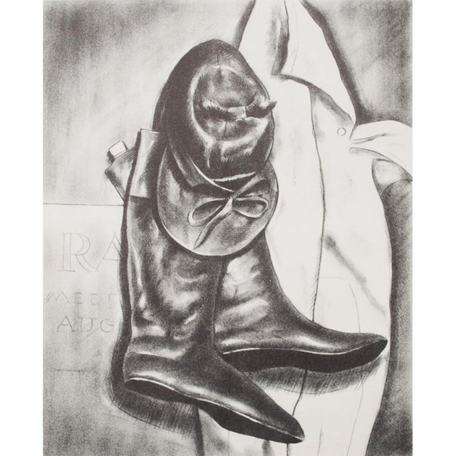 """An excellent original period black and white offset lithograph after drawing """"Jockey Clothes"""" by American visual artist..."""