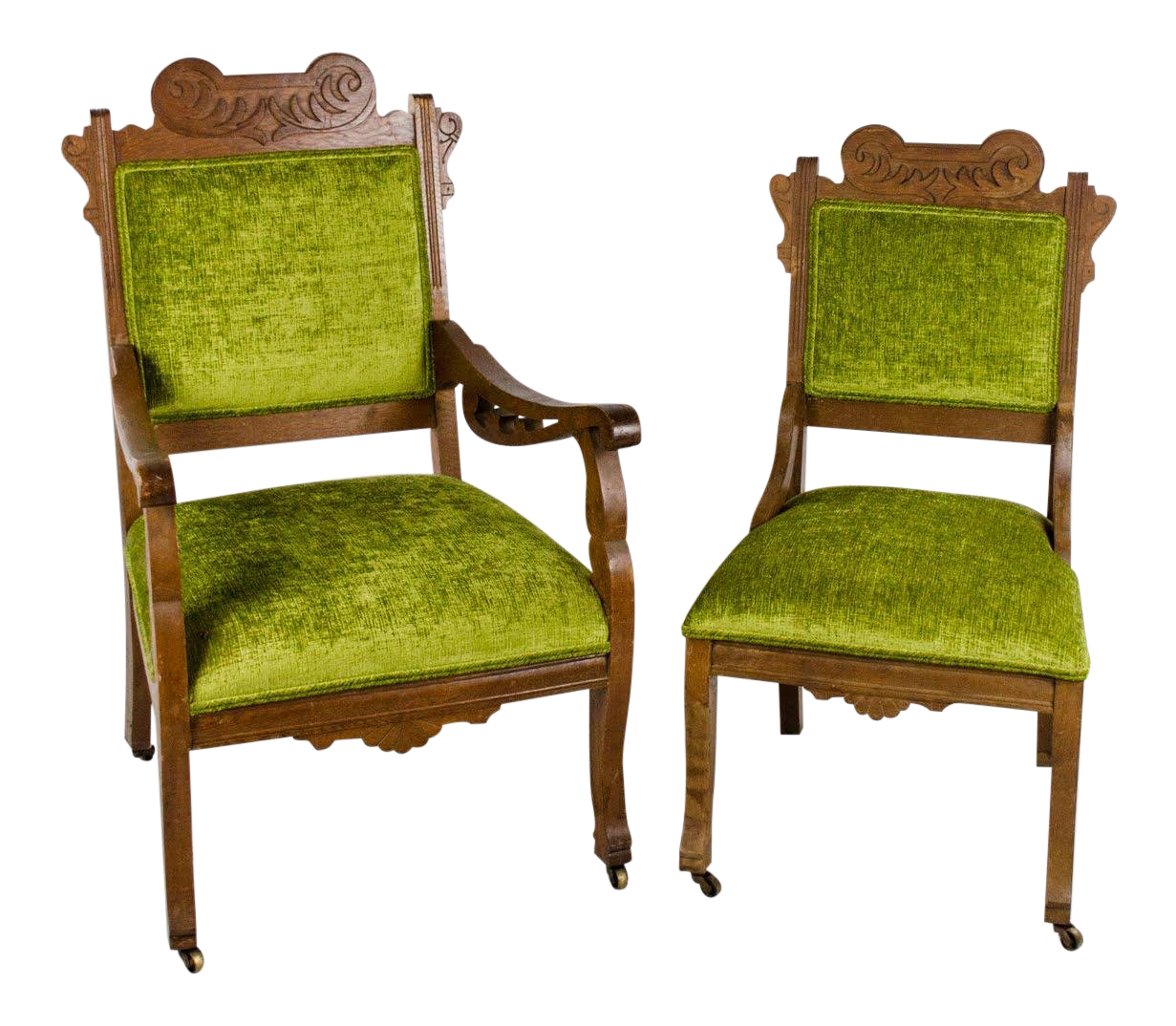 19th Century Victorian Eastlake Style Ladies And Gentlemanu0027s Chairs   A Pair