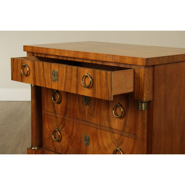 Baker French Empire Style Vintage Walnut Commode Chest of Drawers For Sale In Philadelphia - Image 6 of 13