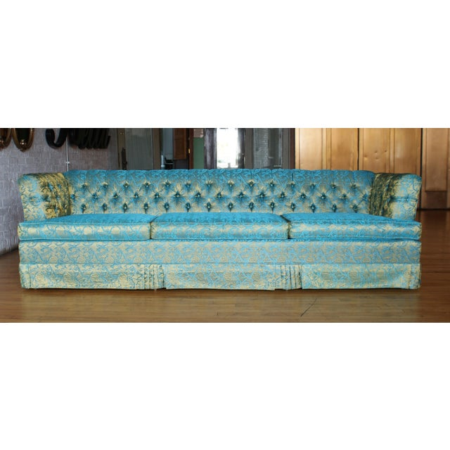 Blue and Gold Tufted Sofa by Howard Palmer for Harmony House For Sale - Image 11 of 11