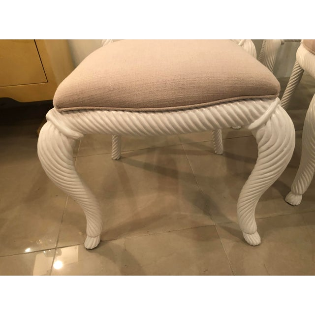 Vintage Nautical White Lacquered Wood Rope Side Dining Chairs -Set of 4 For Sale - Image 9 of 10