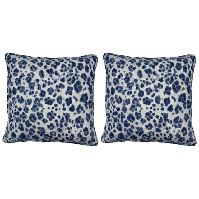 White Thibaut 'Panthera' Blue and White Panther Motif on Linen Pillows, Pair For Sale - Image 8 of 8