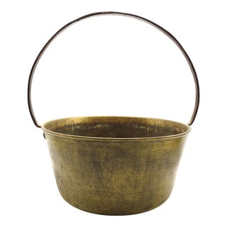 Antique English Brass & Iron Hearth &. Jam Pot For Sale