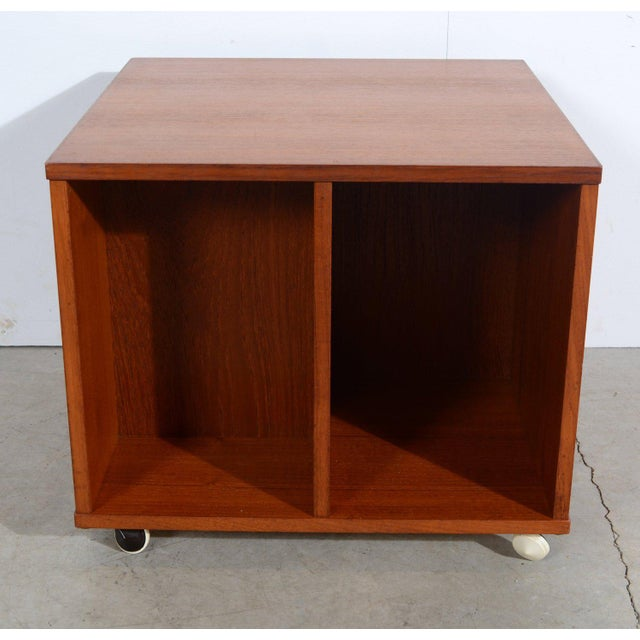 Revolving Vinyl Cart,Bookcase, Bibliotheque, Album Holder or Magazine Stand on castors. Made of Teak. I think this was...
