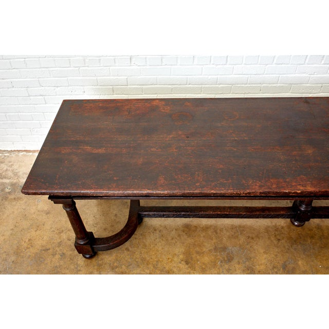 19th Century English Oak Refectory Dining Banquet Table For Sale - Image 4 of 13