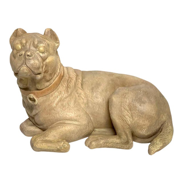 Late 19th Century Antique English Terracotta Recumbent Pug Dog For Sale