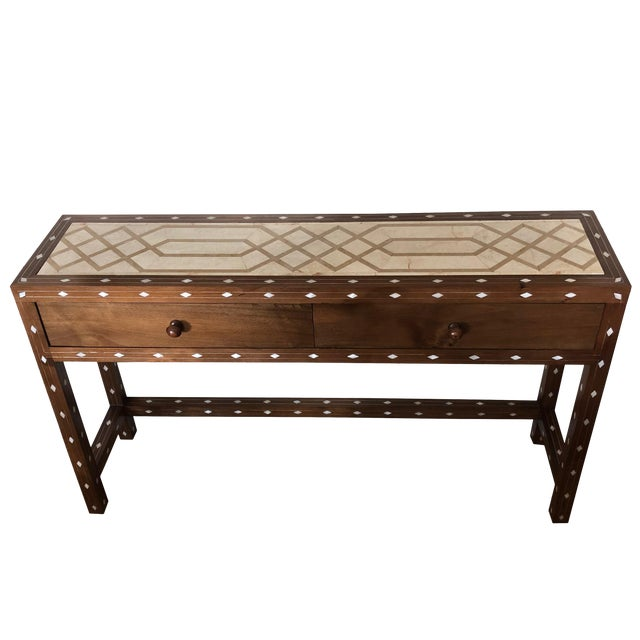 Contemporary Mother of Pearl Inlay Console Table With Marble Top For Sale
