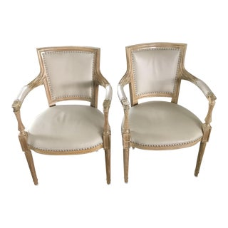 Global Views Marilyn Leather Arm Chairs - a Pair