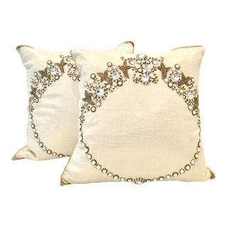 Pair of 21st Century Metallic Silk Hand Beaded Pillows For Sale