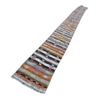1970s Vintage Turkish Kilim Striped Runner Rug - 1′9″ × 23′11″ For Sale