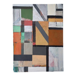 Abstract Geometric Acrylic Painting on Paper in Gray, Tan and Green For Sale