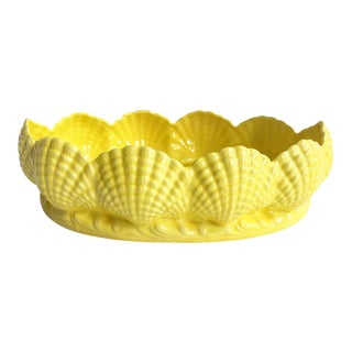Vintage Yellow Ceramic Seashell Oval Planter