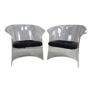 Hill Co Vladimir Kagan Style Lucite Barrel Lounge or Side Chairs - a Pair For Sale