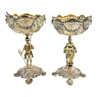 17th Century Silver English Compotes - A Pair For Sale