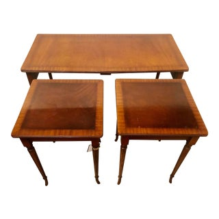 Vintage Sheraton Banded Stacking Tables - Set of 3 For Sale