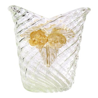Seguso Vetri d'Arte Murano Diamond Quilted Gold Leaf Italian Art Glass Flower Vase For Sale