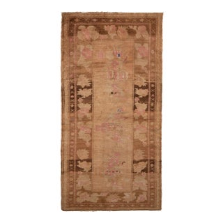 Hand-Knotted Vintage Bessarabian Rug in Beige Brown and Pink Floral Pattern For Sale