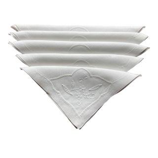 Vintage White Linen Cocktail Napkins- Set of 4 For Sale