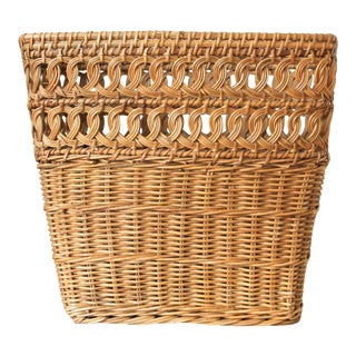 Vintage Wicker Wastebasket For Sale