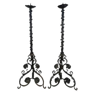 French Wrought Iron Torchieres - a Pair For Sale