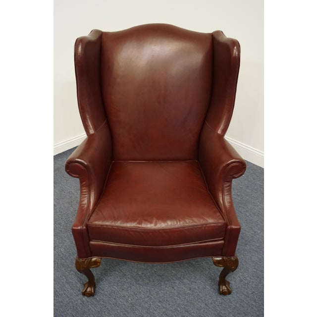 Traditional Whittemore-Sherrill Burgundy Leather Wingback Chair For Sale - Image 3 of 10