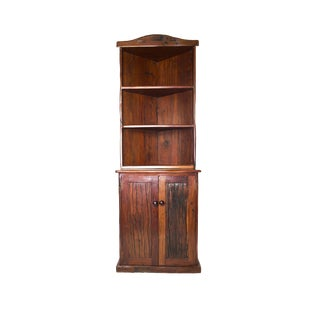 Antique Railroad Hand Carved Red Jarrah Wood Corner Bookcase