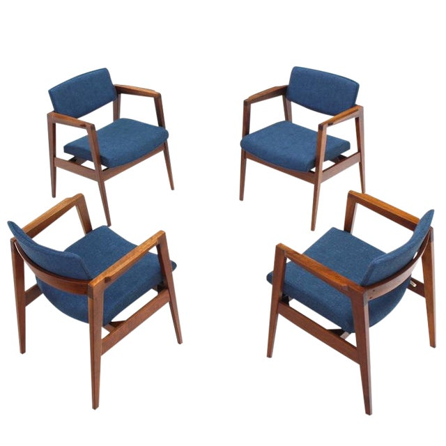 Set of 4 Solid Walnut Newly Upholstered Gunlocke Chairs For Sale