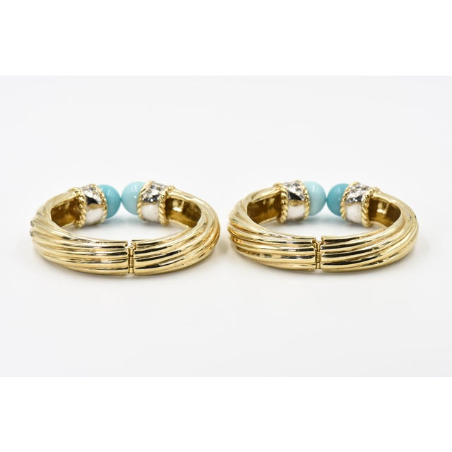 Italian Costume Turquoise Crystal Gold Plated Bangle Bracelets For Sale In Miami - Image 6 of 8