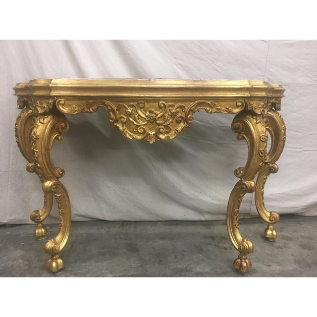 19th C Italian Gilt Wood and Marble Top Console Table For Sale - Image 9 of 13