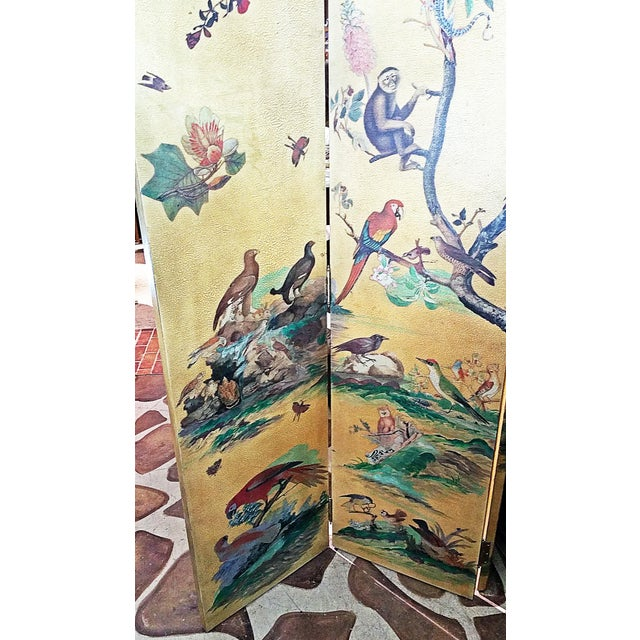 Wood 1950s Vintage Birds Foliage Six Pannel Screen For Sale - Image 7 of 8
