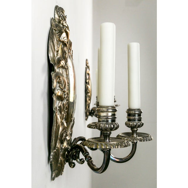 Mediterranean Spanish Silver Shield Triple Candelabra Sconces, Pair (3 Pairs Available) For Sale - Image 3 of 13