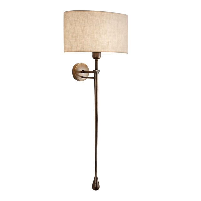 Mid-Century Modern Antique Bronze Wall Light With Shade For Sale - Image 3 of 3