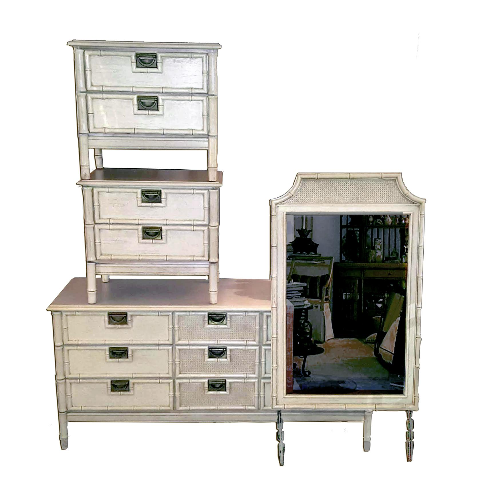 1960 S Stanley Hollywood Regency Campaign Faux Bamboo Bedroom Set