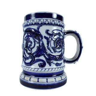 Swedish Blue & White Stoneware Stein