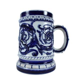 Swedish Blue & White Stoneware Stein For Sale