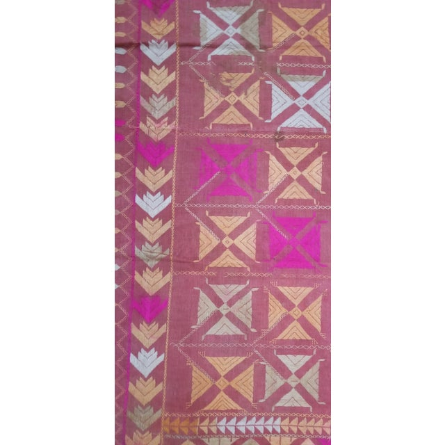 Tribal Large Antique Swat Valley Pakistani Embroidered Phulkari Silk Linen Throw For Sale - Image 3 of 6
