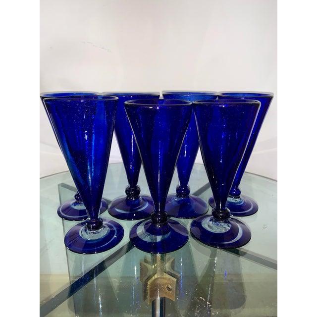 Vintage Cobalt Blue Shrub Glasses - Set of 10 For Sale - Image 4 of 11