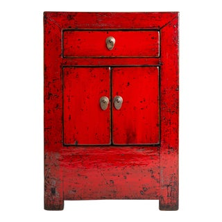 Chinese Red Lacquer Cabinet With Drawer and Pair of Doors For Sale