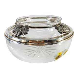 Mid 20th Century Italian Sterling Silver and Crystal Cigar Ashtray For Sale