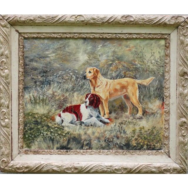 1980s The Dogs' English School Oil Painting, Signed & Dated For Sale - Image 5 of 6