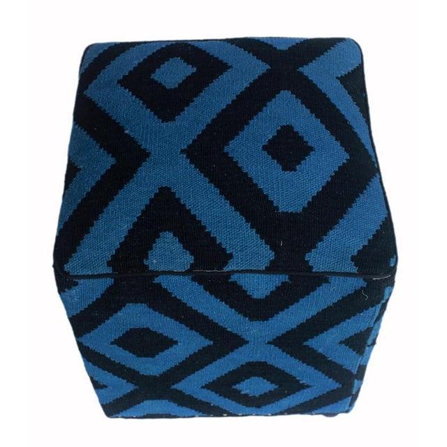 Shabby Chic Arshs Deloris Lt. Teal/Black Kilim Upholstered Handmade Ottoman For Sale In New York - Image 6 of 8