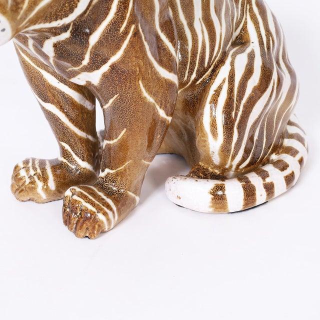 Ceramic Mid Century Terra Cotta Tiger For Sale - Image 7 of 8
