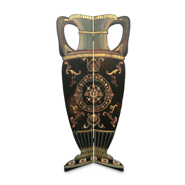 6 Foot Tall 1930s Hand Carved and Painted Art Deco Screen - Image 1 of 10