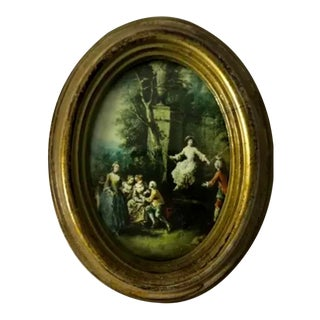 Petite Italian Miniature Print in Gilt Frame For Sale